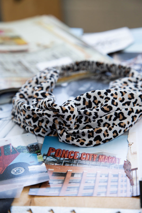 Mini Headband, White Leopard