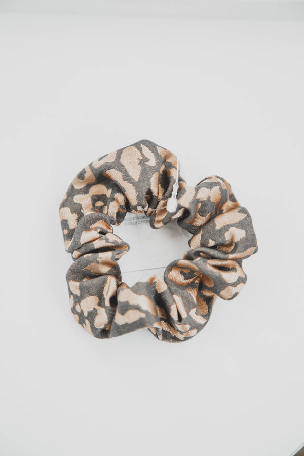 Metallic Leopard Print Hair Scrunchie Tie, Brown/Gold