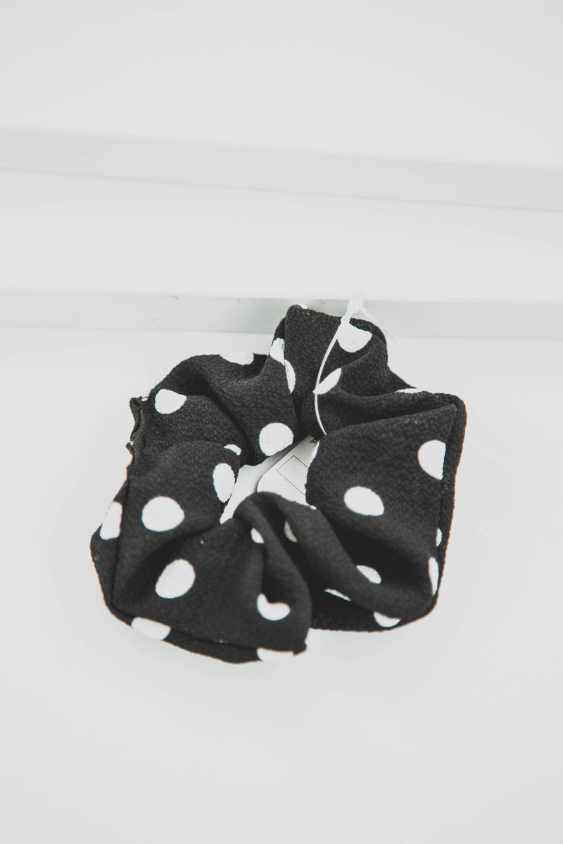 Polka Dot Scrunchie, Black