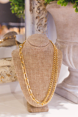 Get That All The Time Dual Styled Short Chain Necklace, Gold