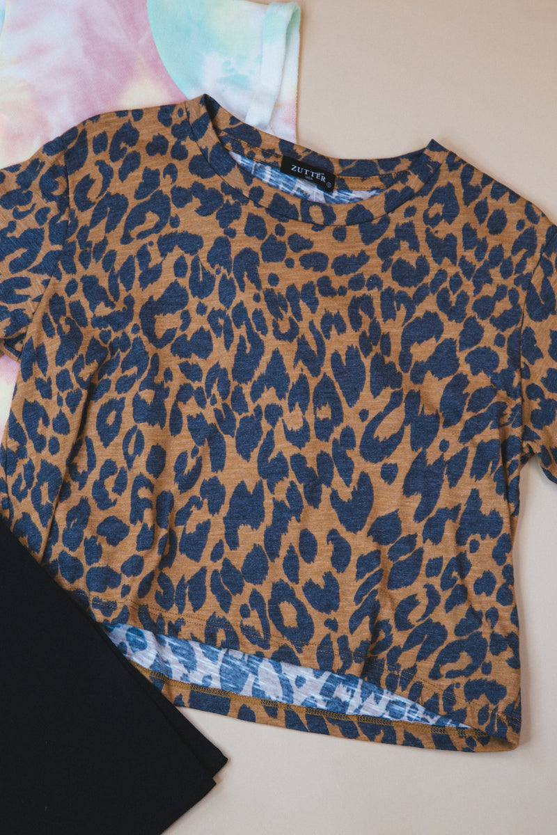 Wild Ride Cropped Tee, Brown Leopard