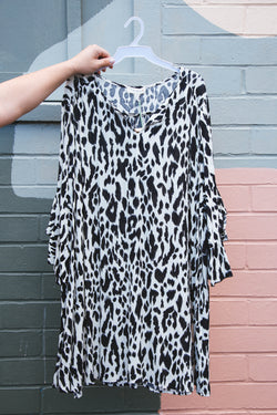 Lena Split Neck Dress, Cream Leopard | Plus Size