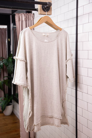 High Low Fringe Tunic, Oatmeal