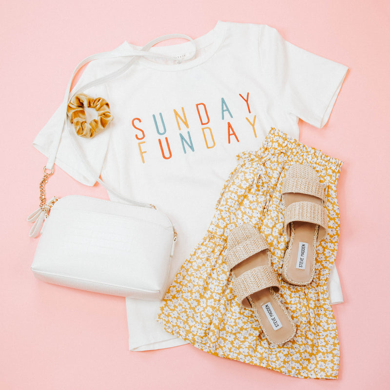 Sunday Funday Embroidered Graphic Tee, Ivory