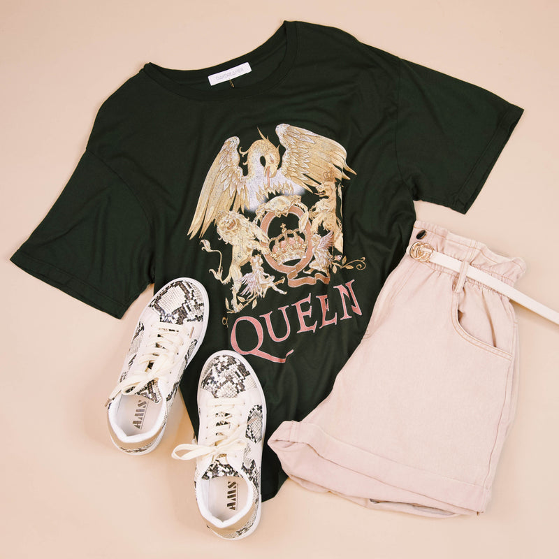 Queen Crest Boyfriend Tee, Fern | DayDreamer