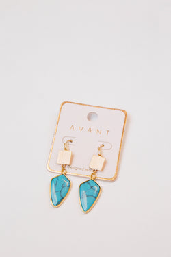 Tyra Earrings, Turquoise/Gold