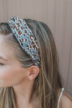 Leopard Print Twisted Headband, Grey