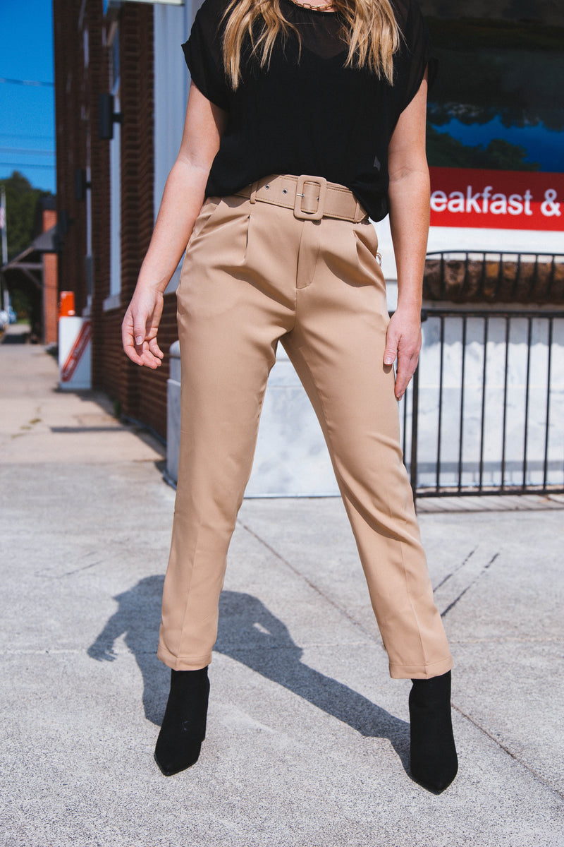 Brittani Belted Trouser Pant, Camel