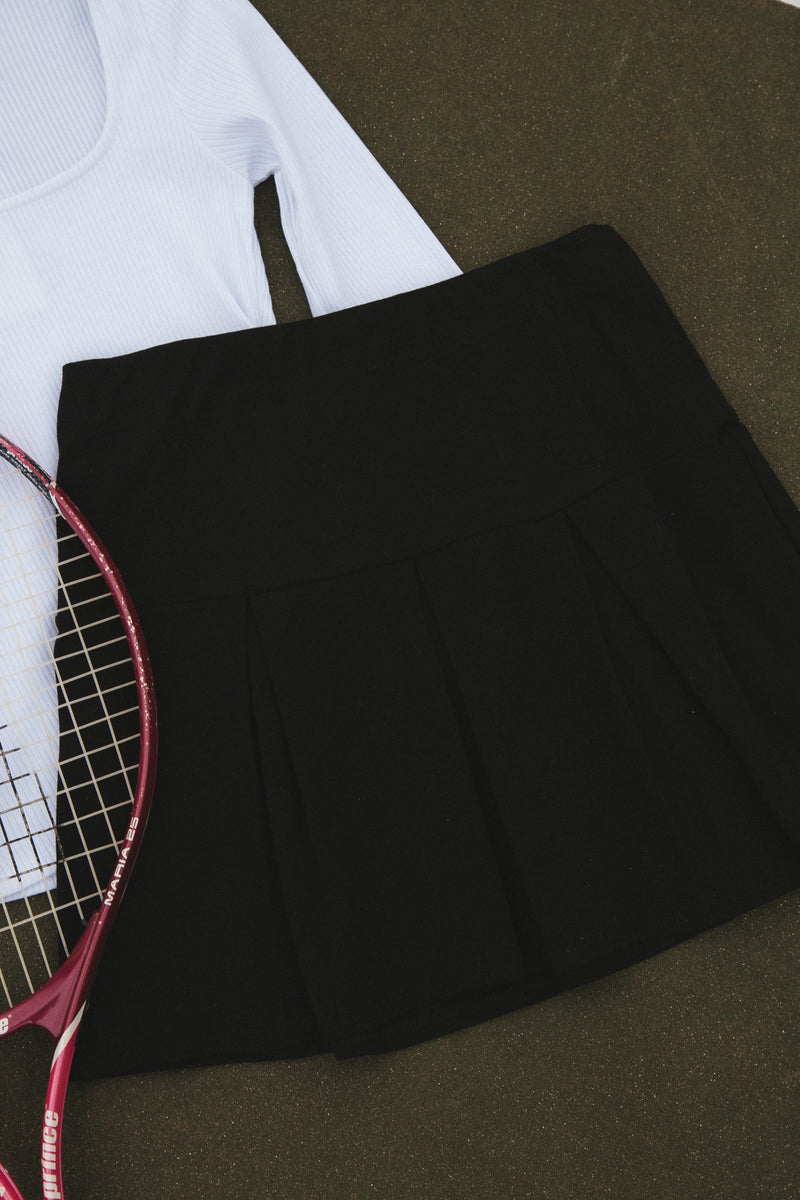 Kellie Pleated Tennis Skirt, Black