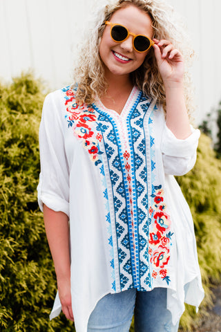 Andi Embroidered V-Neck Tunic, Ivory | Women's Trendy Shirts