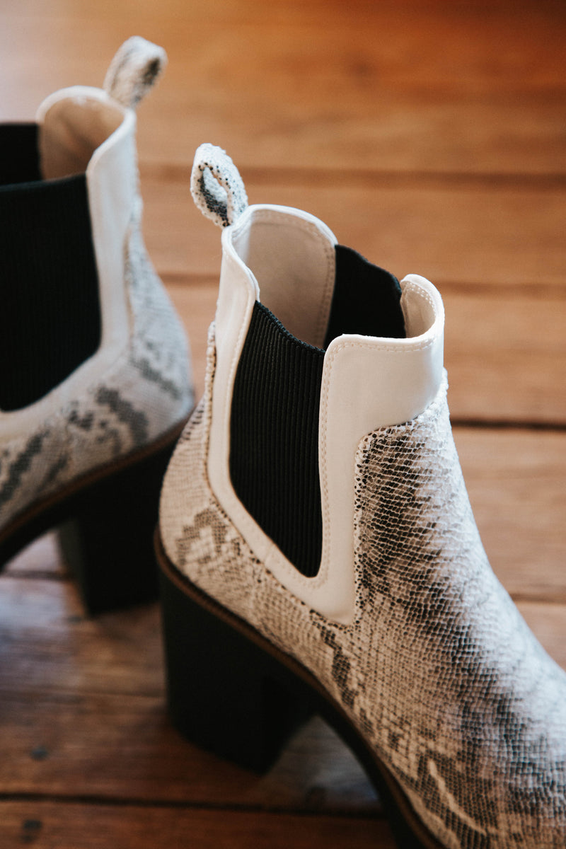 Good Day Platform Snake Chelsea Boot, Cream/Grey | Chinese Laundry
