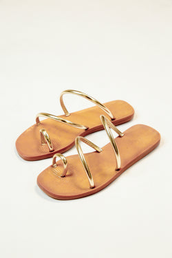 Sunbathe Strappy Sandal, Gold Metallic