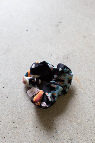 Floral Hair Scrunchie, Black