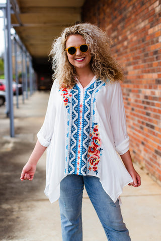 Latte Button Down Babydoll top, Oatmeal