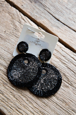 Beaded Felt Back Circle Earrings, Black/Silver