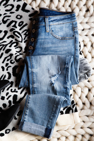 Distressed Denim Button Fly Jean
