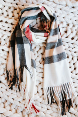 Bellaire Plaid Scarf, Ivory