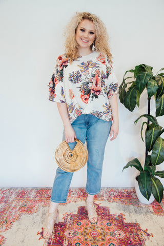 Gather in the Garden Floral Top, Off White | Plus Size