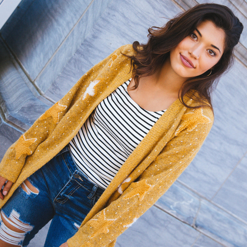 Lost In The Stars Cardigan, Mustard