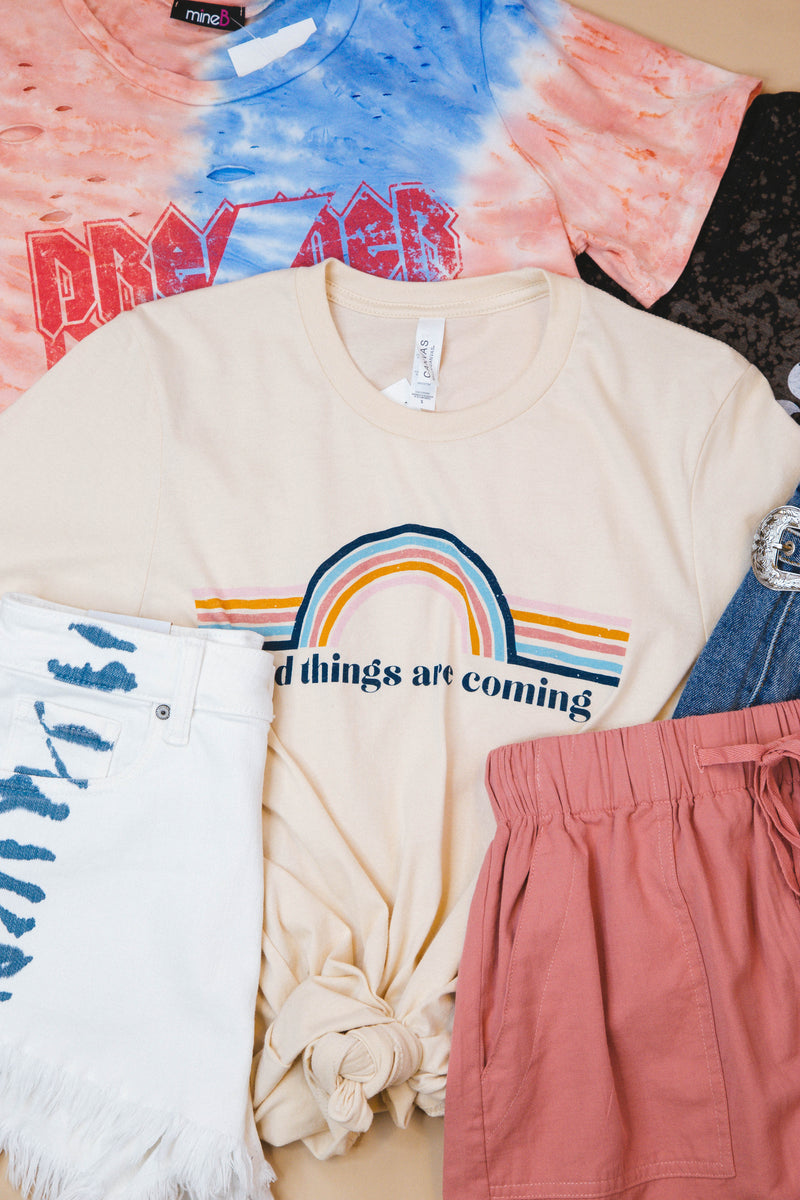 Good Things Are Coming Graphic Tee, Soft Cream