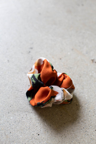 Floral Hair Scrunchie, Rust