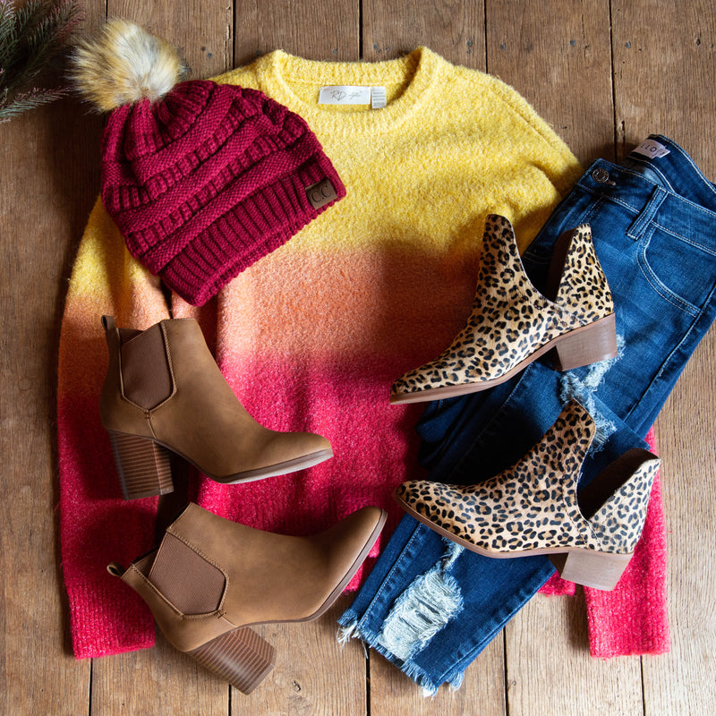 Ombre Sorbet Sweater, Yellow/Red