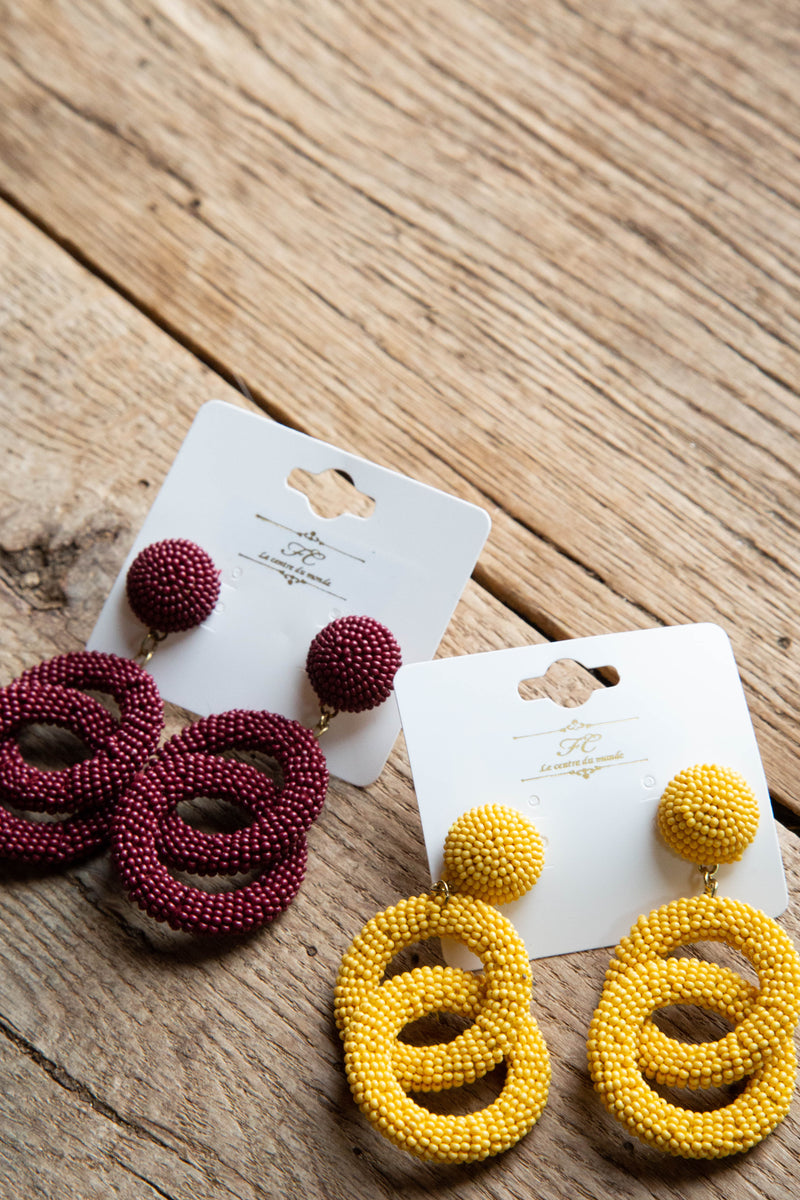 Harvest Seed Bead Earrings, Mustard