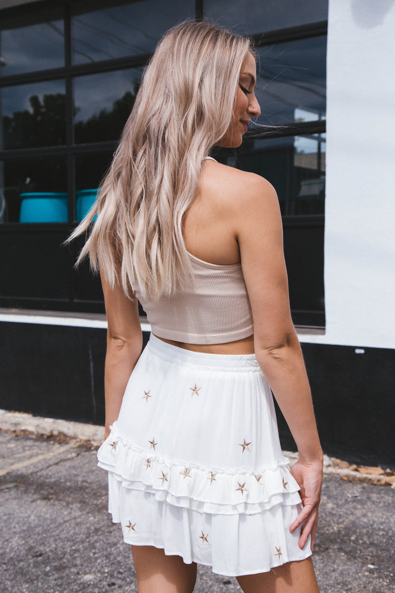 No Plans Racerback Crop Top, Nude