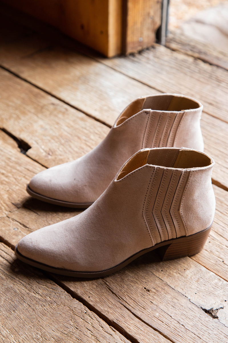 Shop our Rager 46 Gored Side Short Boot, Taupe Suede by Quipid.