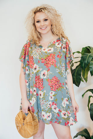 In The Shade Floral Dress, Cool Grey | Plus Size