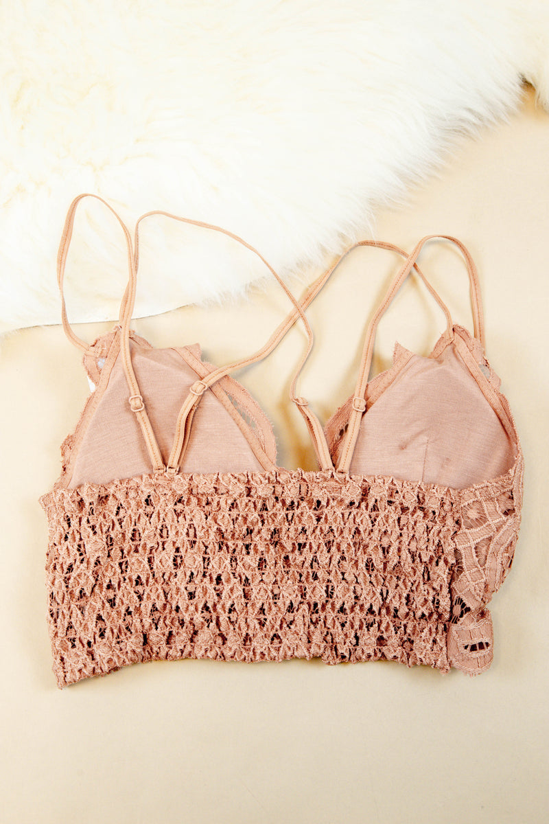 Lace Padded Bralette, Dark Peach
