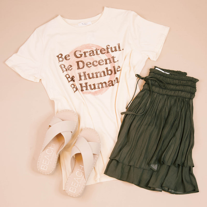 Be Grateful, Be Decent, Be Humble, Be Human Graphic Tee, Natural