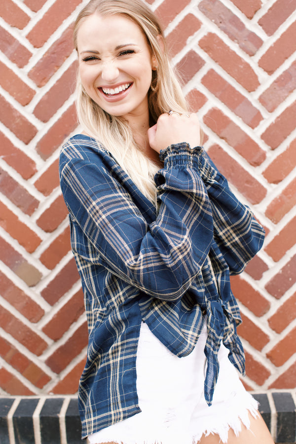 Rachel Plaid Top, Navy