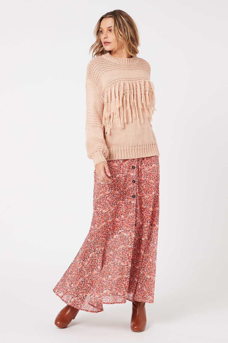 Yoanna Chunky Fringe Knit Sweater, Antique Peach | MINKPINK