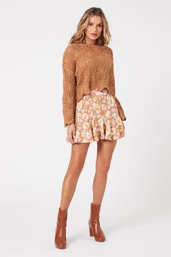 El Royale Floral Mini Skirt, Mauve Multi | MINKPINK