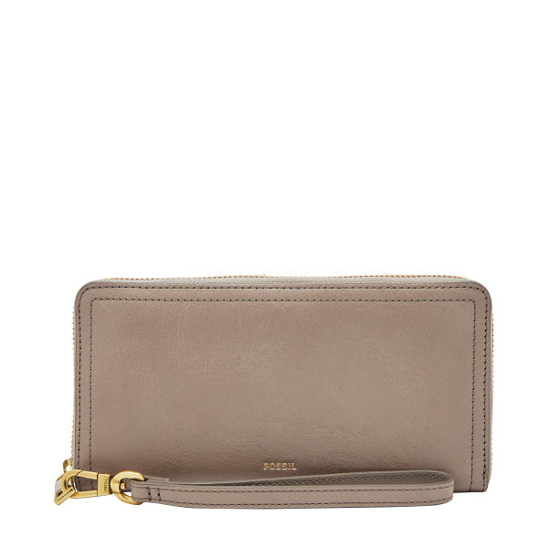 RFID Logan Zip Wallet, Taupe | FOSSIL