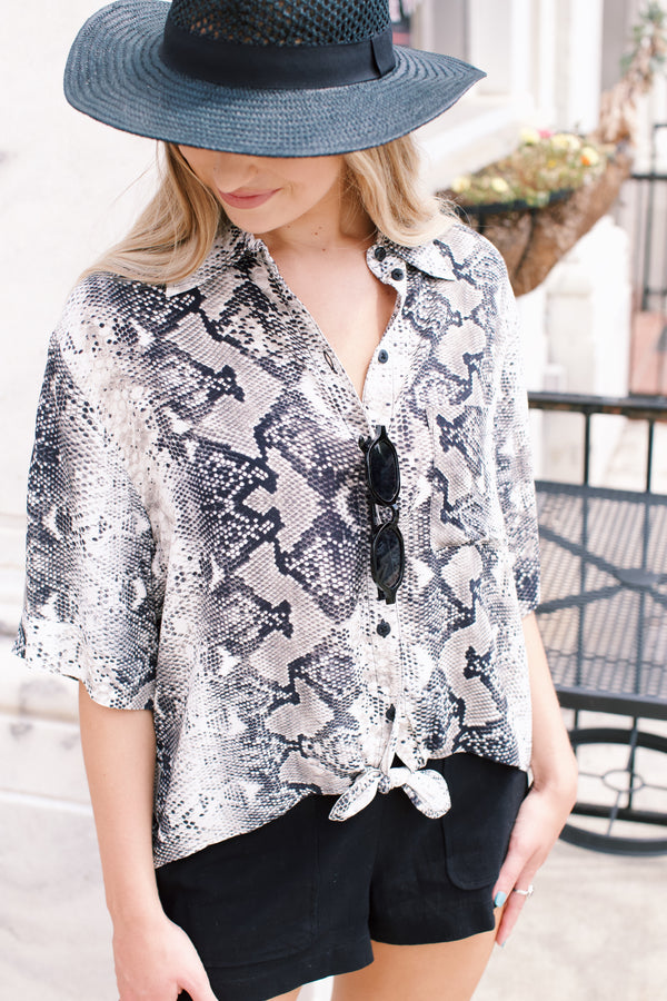 Snake Print Shirt, Grey Multi | Sanctuary