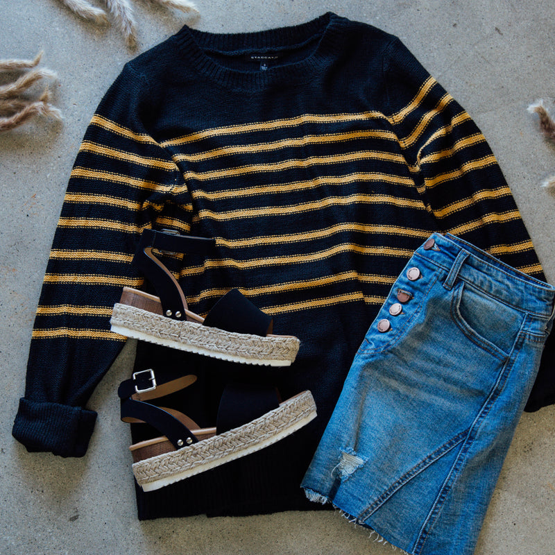 Striped Pullover Sweater, Black Mustard