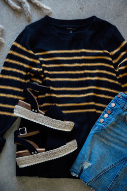 Striped Pullover Sweater, BlackMustard