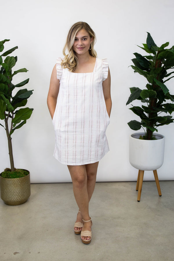 Summer Simply Woven Pin Stripe Dress, Ivory/Pink