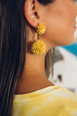 Seed Bead Ball Earring, Yellow
