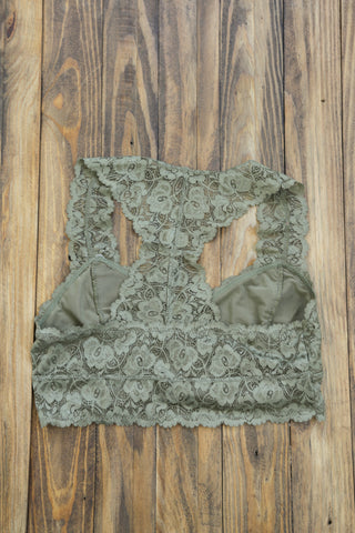 Fiona Lace Bralette, Olive