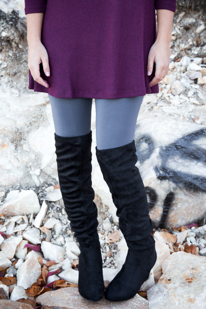 Over The Knee Wedge Boot, Black | Chinese Laundry - The Loft Boutique - Shoes  - 2