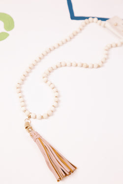 Wooden Beaded Necklace with Faux Leather Blush Tassel