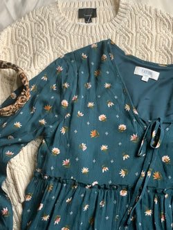 Sounds Like A Song Flower Print Dress, Teal Multi