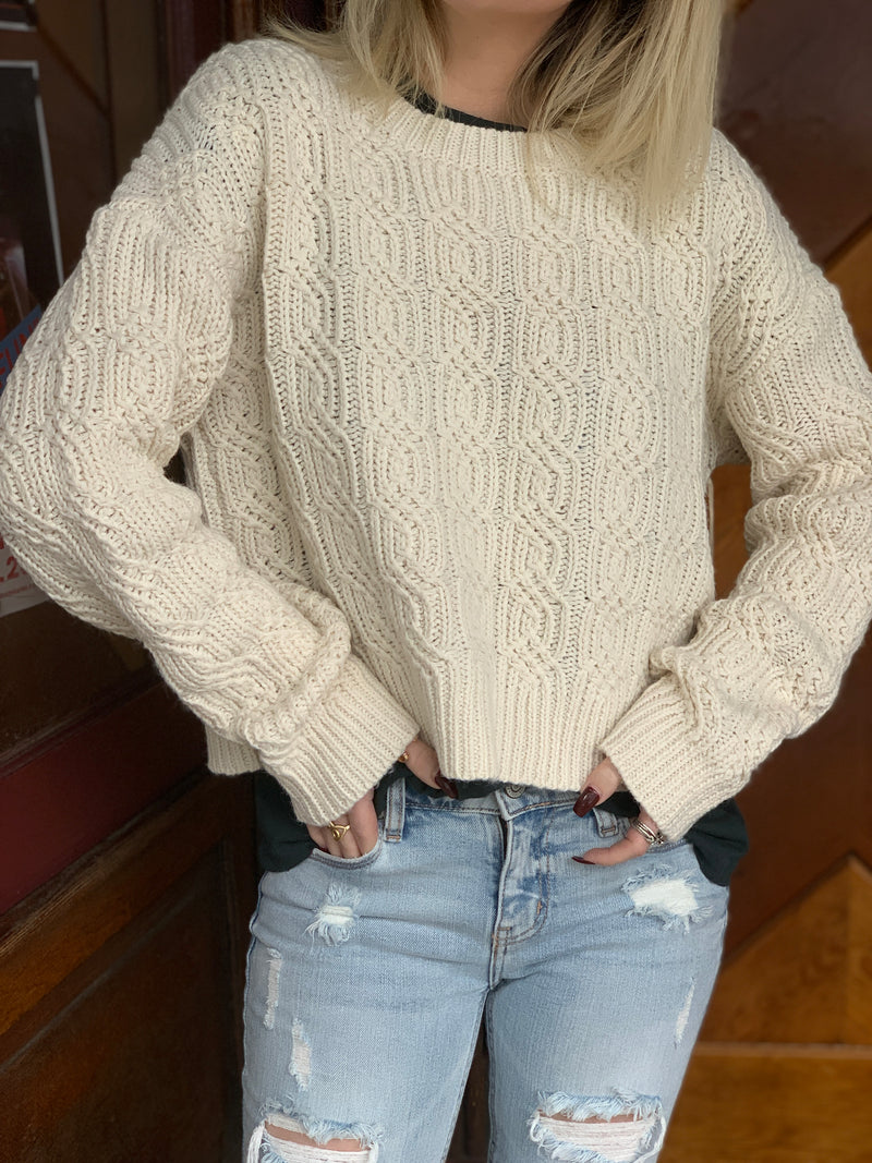 Noelle Cable Knit Sweater, Ivory