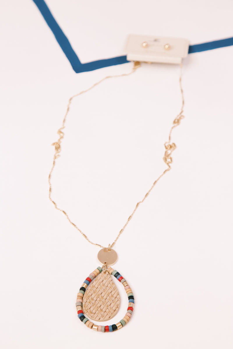 Wooden Bead Teardrop Necklace, Multi Tan