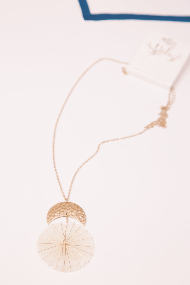 By The Shore, Shell Circle Pendant Necklace, Gold