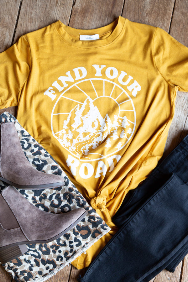 Find Your Road Graphic Tee, Mustard