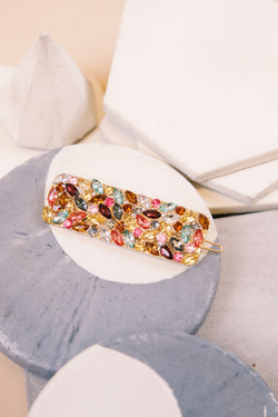 Crystal Rectangle Hair Clip, Gold Multi